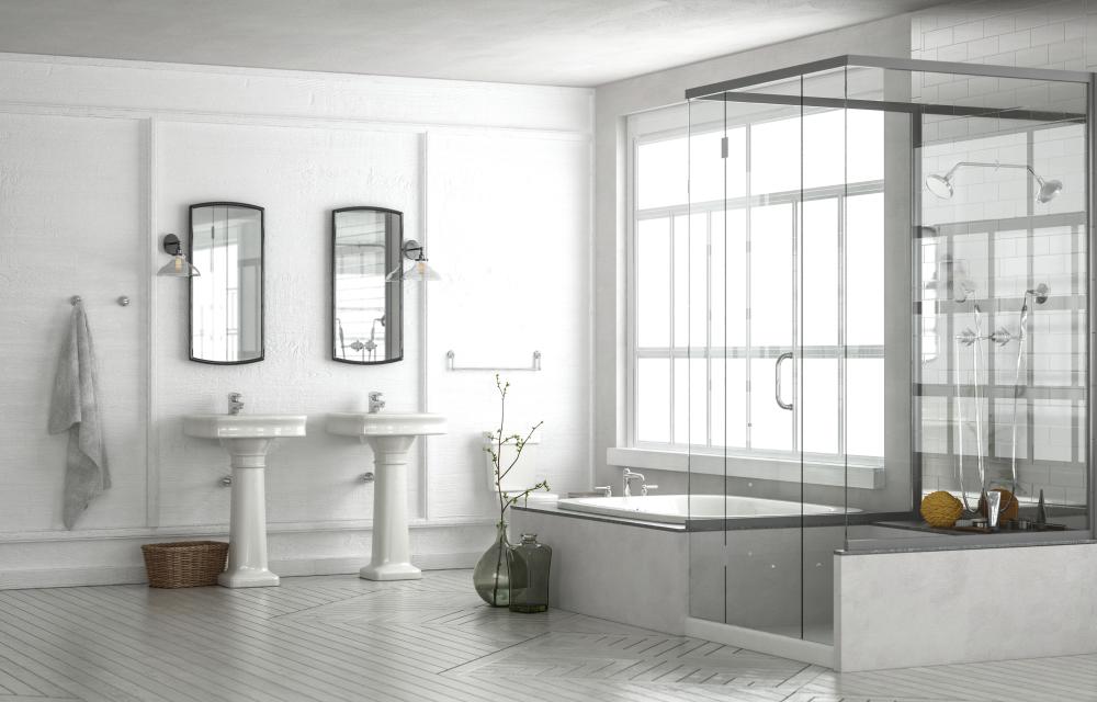 Vintage bathroom with freestanding shower