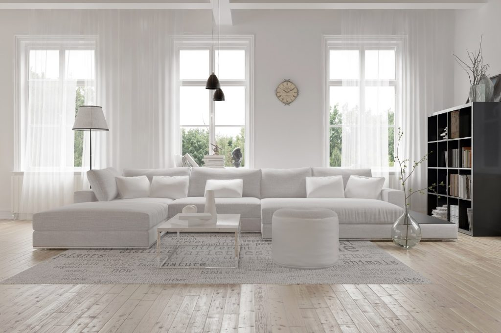 White couch and curtain in a living room