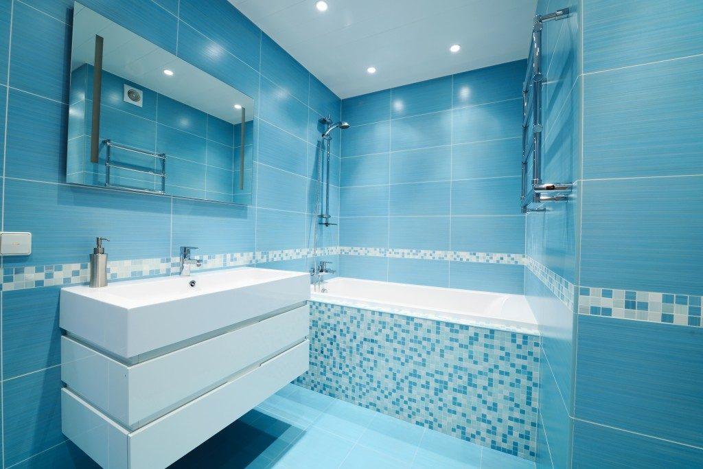 Bathroom blue interior
