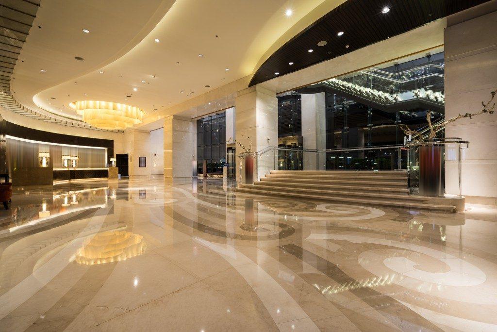 Epoxy floor at a building lobby