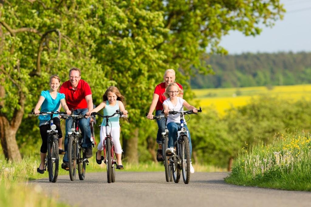 Family riding a bike