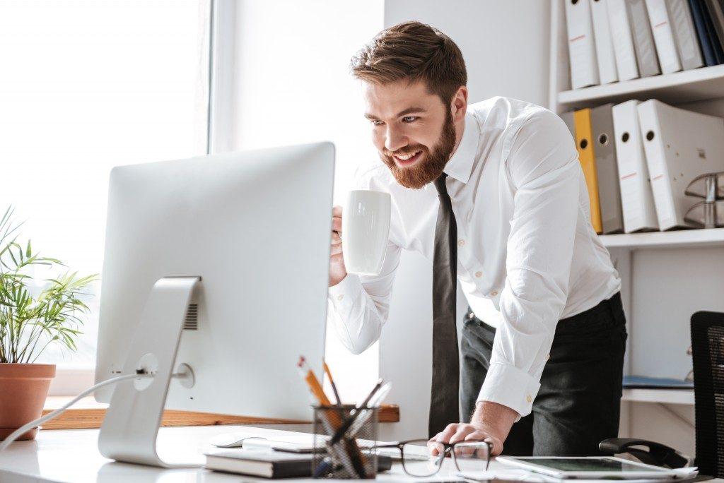 Man on his desktop