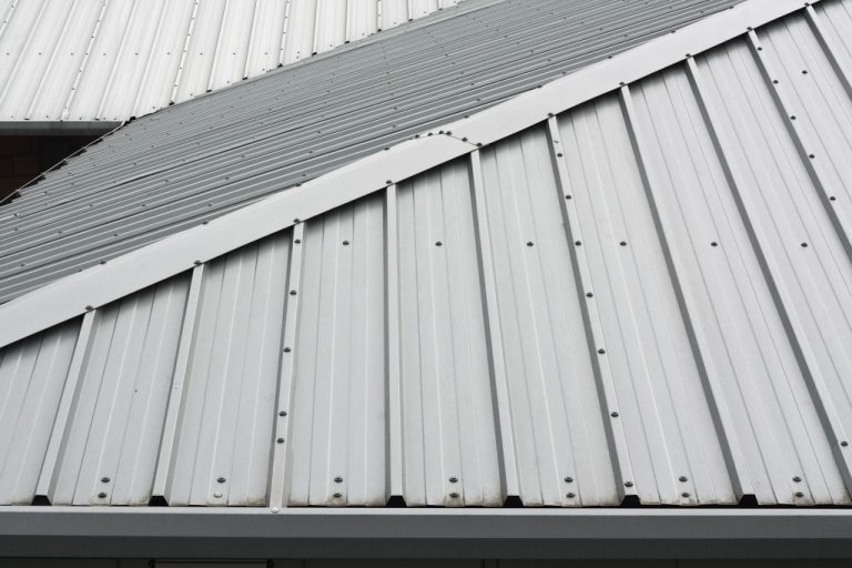 Gray metal roofing up close