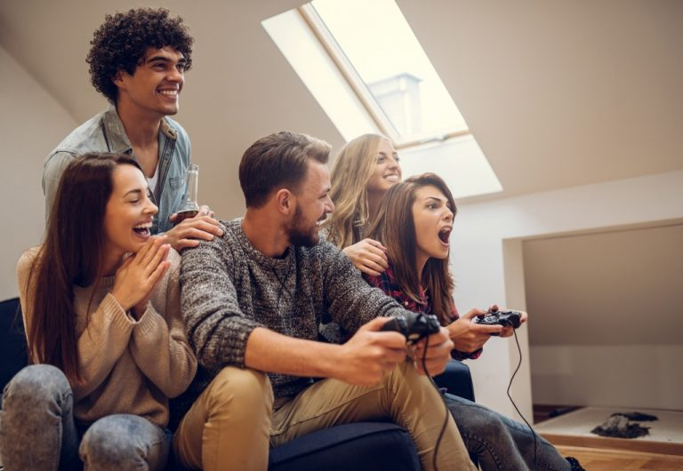 group of friends playing video games