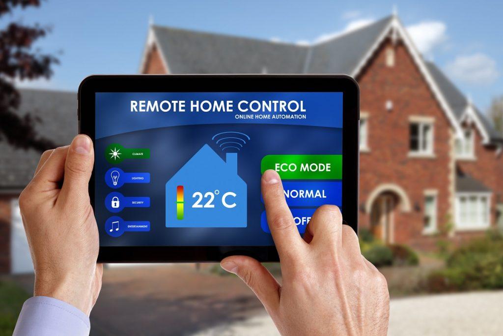 Person using a remote home control