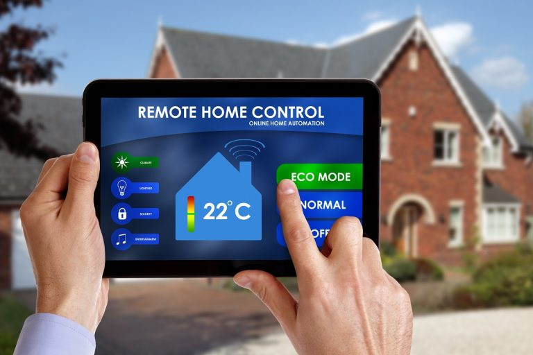 Person using a remote home control