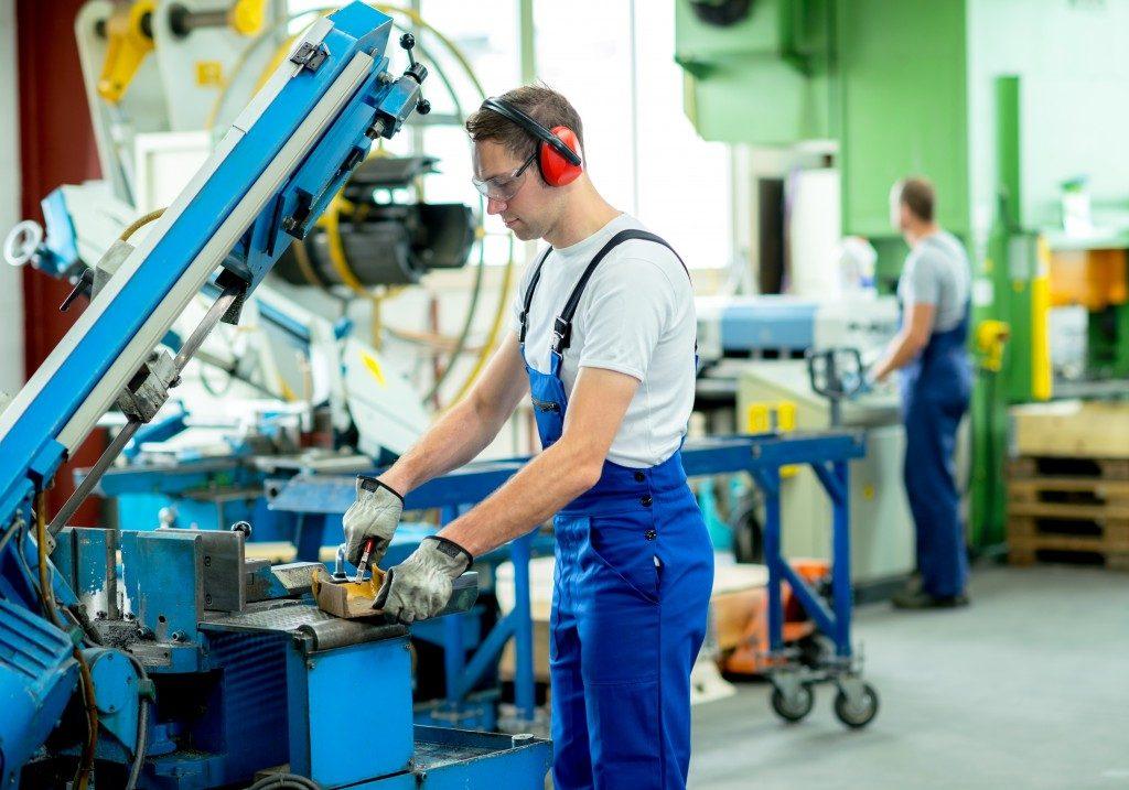 Machine operator in a factory