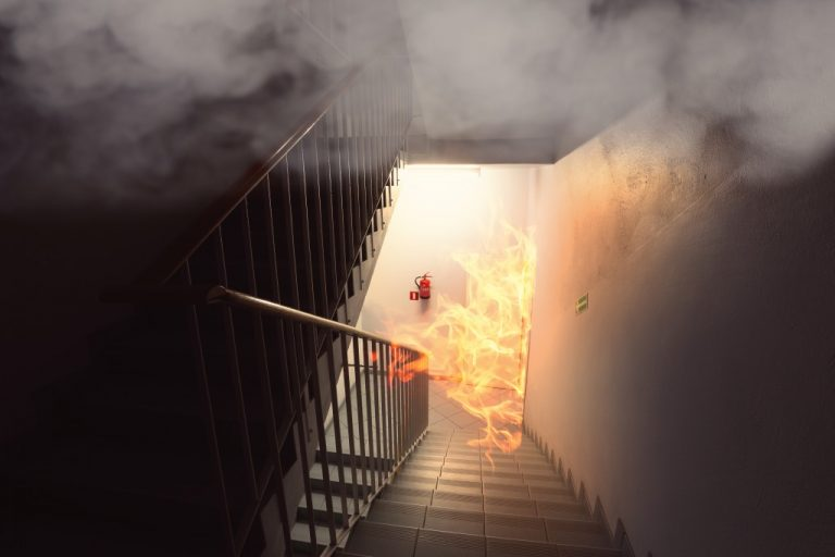 Fire by the staircase