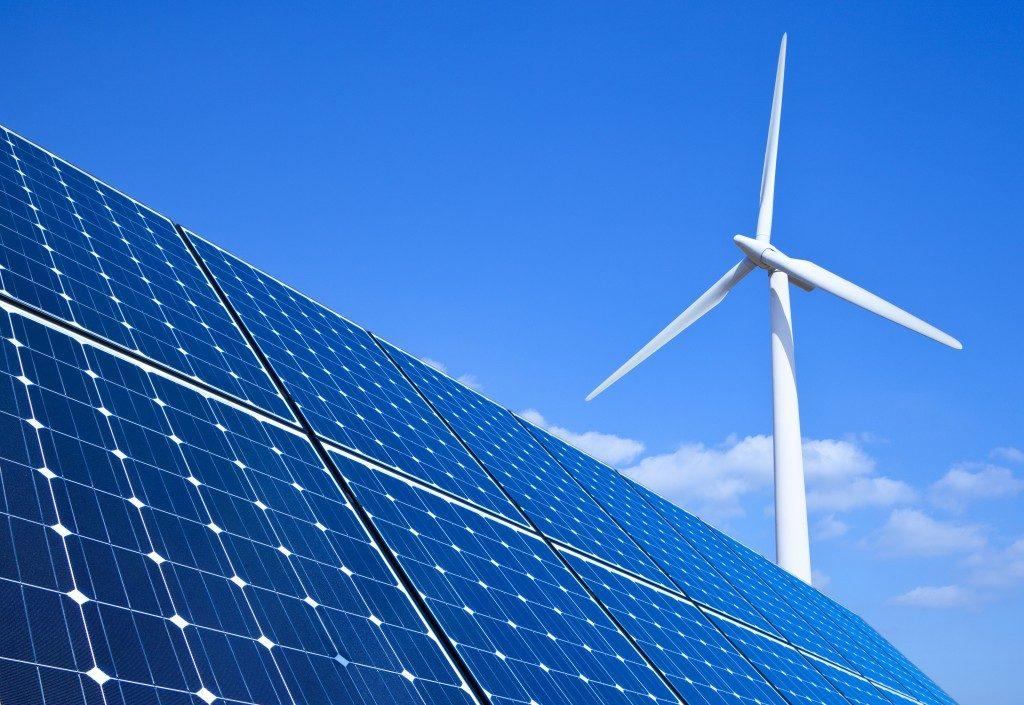 solar panels and windmill turbine