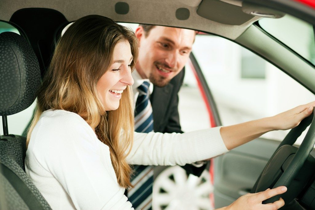 woman looking to purchase a car
