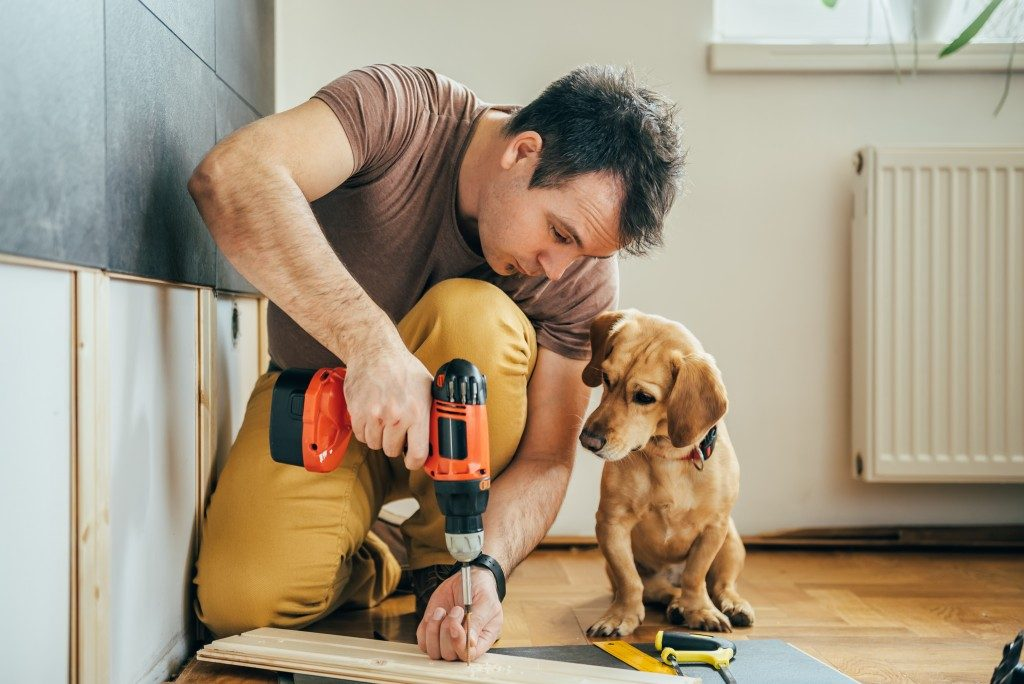 man doing home improvements whilst dog watches