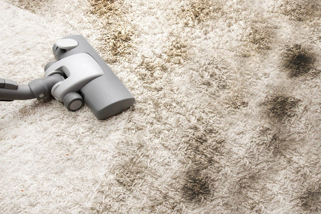 Vacuuming a dirty carpet in house