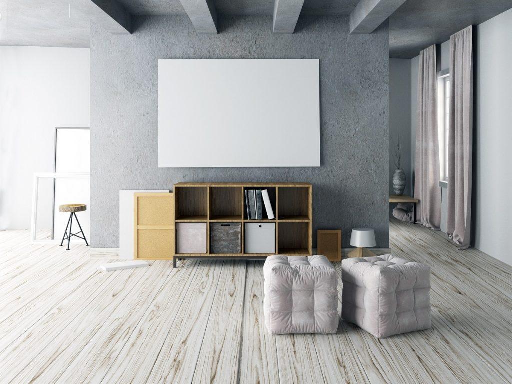 white hardwood floor