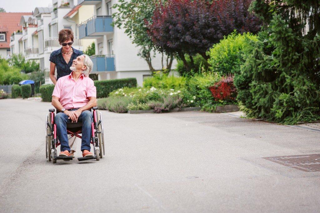 senior roaming around the village