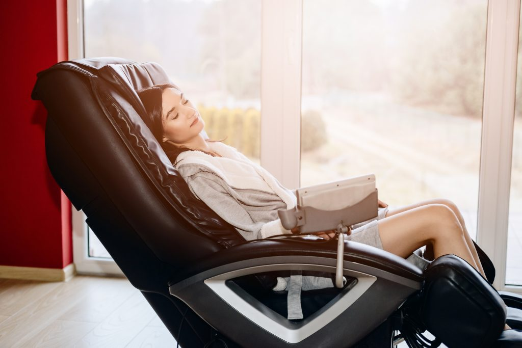woman at the massage chair