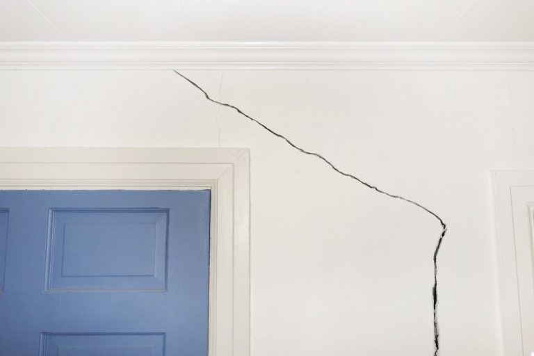 Crack in the wall of a home indicating foundation defects