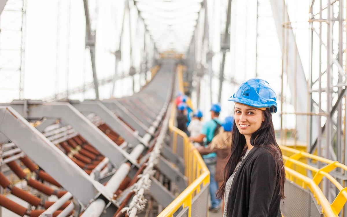 woman wearing construction hard hat