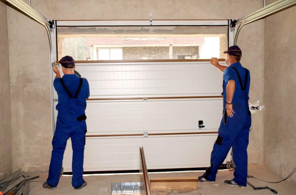 Garage door being fixed
