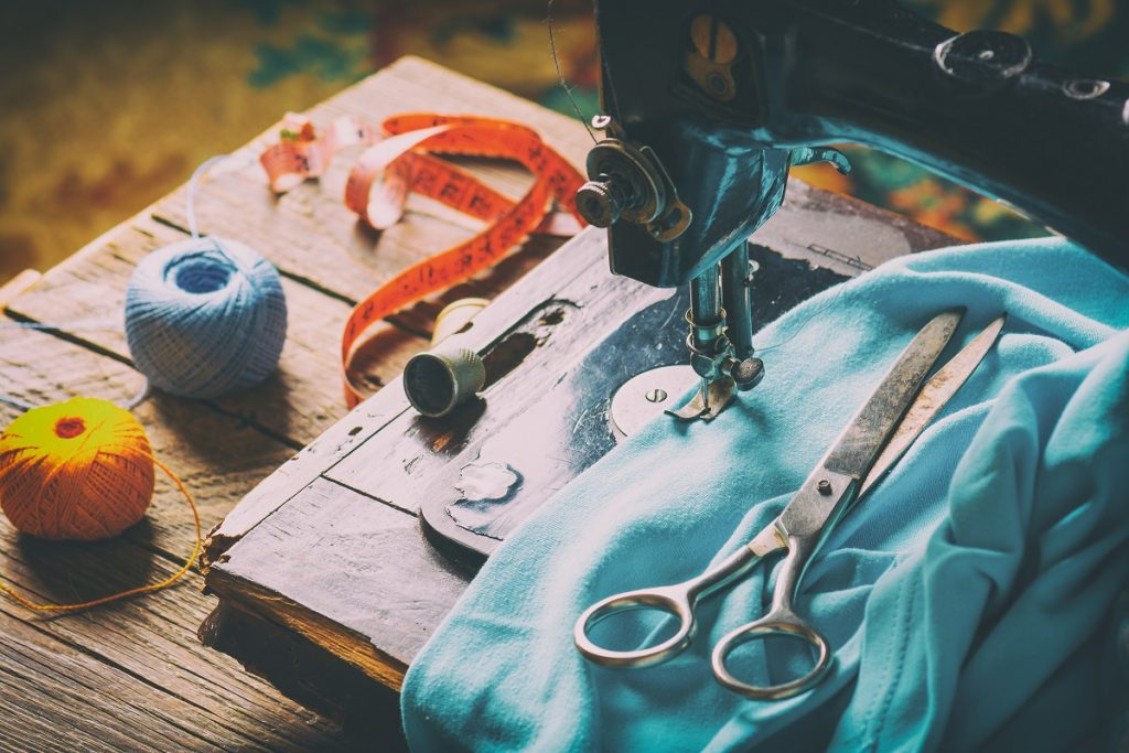 fabric and sewing tools