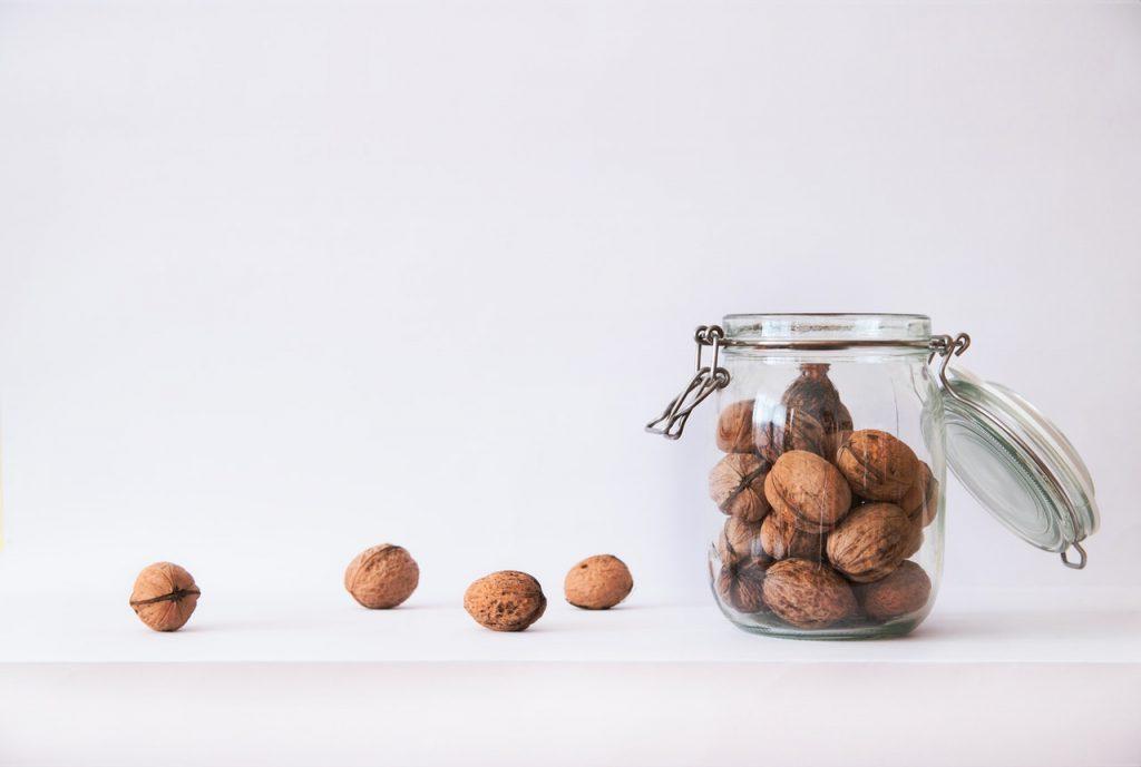 walnuts in a jar